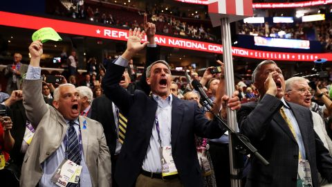 """Former Virginia Attorney General Ken Cuccinelli, center, was among the delegates shouting for a roll call vote Monday on the rules of the Republican National Convention. GOP officials <a href=""""http://www.cnn.com/2016/07/18/politics/rnc-procedural-votes-rules-committee/index.html"""" target=""""_blank"""">dismissed the move,</a> saying there were not enough signatures to force a roll call vote. While it's unlikely a roll call vote would have rejected the rules package, it could have been an embarrassing protest vote against Trump and the Republican National Committee."""