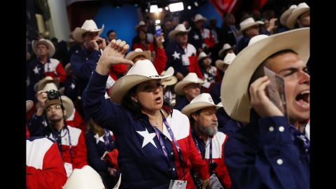 Delegates from Texas protest.