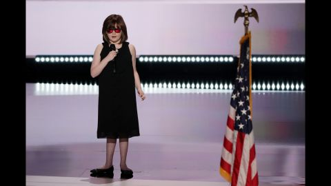 Marlana VanHoose performs the national anthem prior to Monday's evening session.
