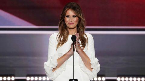 Melania Trump claps during her speech.