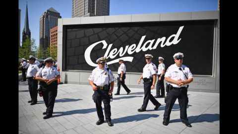 CLEVELAND, OH - JULY 18:  Poice gather in downtown Cleveland on the second day of the Republican National Convention (RNC) on July 19, 2016 in Cleveland, Ohio. Many people have stayed away from downtown due to road closures and the fear of violence. An estimated 50,000 people are expected in Cleveland, including hundreds of protesters and members of the media.  (Photo by Jeff J Mitchell/Getty Images)