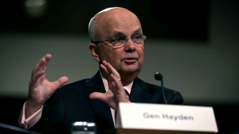 WASHINGTON, DC - AUGUST 04:  Former CIA Director Gen. Michael Hayden (Ret.) testifies during a hearing before Senate Armed Services Committee August 4, 2015 on Capitol Hill in Washington, DC. The committee held a hearing on the Joint Comprehensive Plan of Action (JCPOA) and the military balance in the Middle East.  (Photo by Alex Wong/Getty Images)