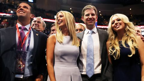Donald Trump Jr. (L), along with Ivanka Trump (C), Eric Trump (2nd-R) and Tiffany Trump (R), take part in the roll call in support of Republican presidential candidate Donald Trump on the second day of the Republican National Convention on July 19, 2016 at the Quicken Loans Arena in Cleveland, Ohio.