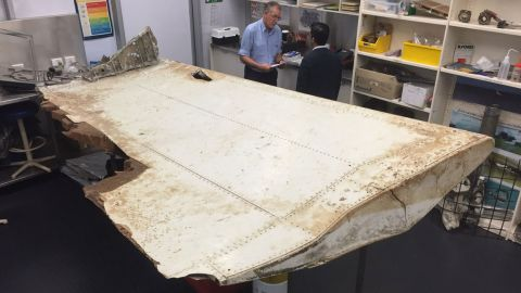 """A piece of aircraft debris found in Tanzania in June 2016 and transported to Australia. The country's <a href=""""http://minister.infrastructure.gov.au/chester/releases/2016/September/dc116_2016.aspx"""" target=""""_blank"""" target=""""_blank"""">Infrastructure and Transport minister</a> said it was confirmed as coming from MH370 in September 2016."""