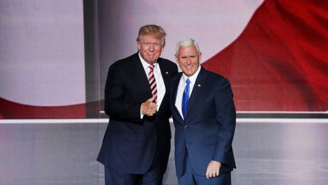Trump gives a thumbs-up Wednesday after Pence gave his speech.