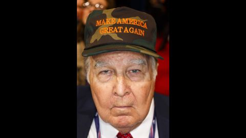 A hat bears the slogan of Trump's campaign.