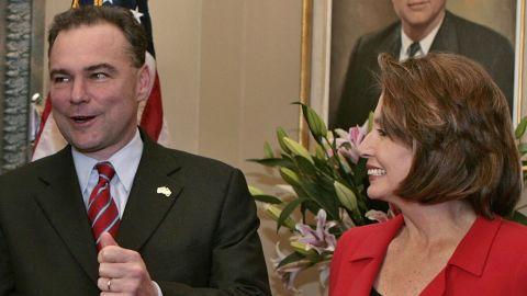 Kaine talks on Capitol Hill with Senate Minority Leader Harry Reid and House Minority Leader Nancy Pelosi in 2006.