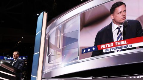 """Peter Thiel, co-founder of PayPal, became the first openly gay person to speak the Republican National Convention. """"I am proud to be gay,"""" he told the crowd Thursday. """"I am proud to be a Republican. But most of all I am proud to be an American."""""""