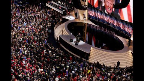 Trump delivers his speech.