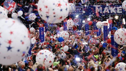 Confetti falls at the end of Trump's acceptance speech.