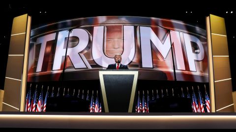 """Donald Trump, the Republican Party's presidential nominee, delivers a speech Thursday at the Republican National Convention in Cleveland. """"I have had a truly great life in business,"""" he said. """"But now, my sole and exclusive mission is to go to work for our country -- to go to work for you. It's time to deliver a victory for the American people."""""""