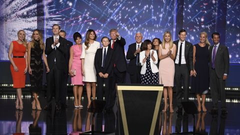 Trump's family joins him on stage along with the family of his running mate, Indiana Gov. Mike Pence.