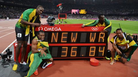 """Bolt's historic """"double-triple"""" sweep of gold medals was complete after winning the 4x100m relay with teammates Blake, Carter and Frater, recording the current world record of 36.84s in the process."""