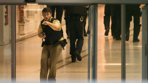 Police secure the area inside the mall.