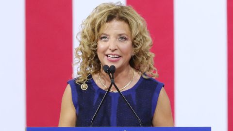 Democratic National Committee Chairwoman Debbie Wasserman Schultz attends a campaign rally at Florida International University Panther Arena on July 23 in Miami, Florida.