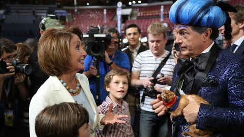 House Minority Leader Nancy Pelosi (D-CA) speaks with Colbert as she visits the floor of the Democratic National Convention at the Wells Fargo Center on July 24, 2016 in Philadelphia, Pennsylvania.