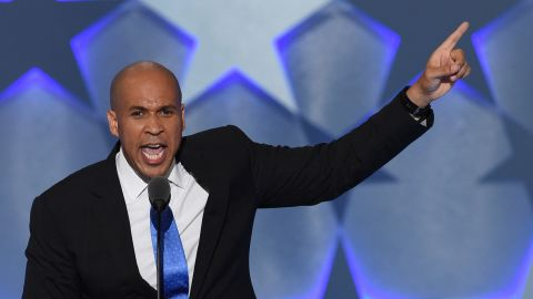 """In his speech Monday, U.S. Sen. Cory Booker included a message about togetherness. """"Patriotism is love of country. But you can't love your country without loving your countrymen and countrywomen,"""" he said."""