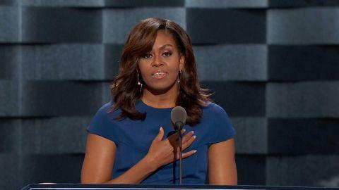Michelle Obama speaks at the DNC