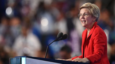 """U.S. Sen. Elizabeth Warren talks to the crowd in Philadelphia. """"We are not going to be Donald Trump's hate-filled America,"""" she said. """"Not now. Not ever."""""""