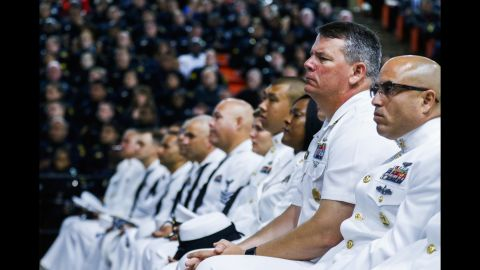 """U.S. sailors attend a funeral service in Fort Worth, Texas, for Dallas police officer Patrick Zamarripa on Saturday, July 16. Zamarripa was one of the five Dallas police officers <a href=""""http://www.cnn.com/2016/07/20/us/dallas-shooter-micah-johnson-movements/"""" target=""""_blank"""">killed by a gunman</a> earlier this month."""