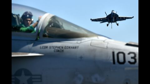 An F/A-18F Super Hornet lands on the USS Dwight D. Eisenhower, which was in the Mediterranean Sea on Wednesday, July 6.