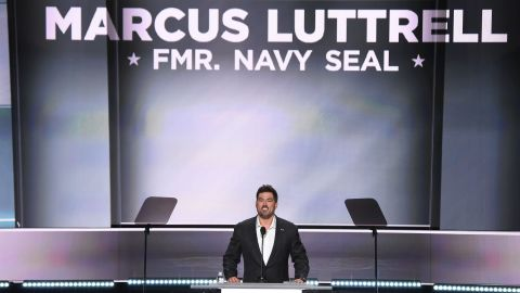 """Marcus Luttrell, a former Navy SEAL who was awarded the Navy Cross for his service in Afghanistan, <a href=""""http://www.cnn.com/videos/politics/2016/07/19/rnc-convention-marcus-luttrell-veterans-sot.cnn"""" target=""""_blank"""">speaks at the Republican National Convention</a> on Monday, July 18."""