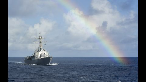 """The USS Howard passes through a rainbow while sailing in the Pacific Ocean on Thursday, July 14. <a href=""""http://www.cnn.com/2016/06/27/politics/gallery/us-military-june-photos/index.html"""" target=""""_blank"""">See U.S. military photos from June</a>"""
