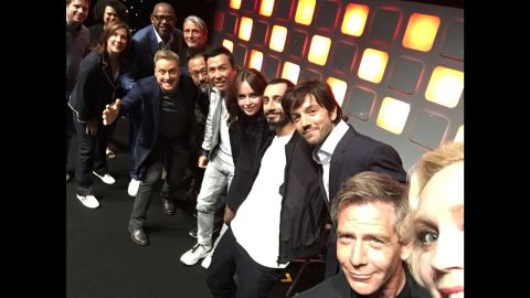 """Actress Gwendoline Christie, right, takes a selfie with the cast of the upcoming movie """"Rogue One"""" during San Diego Comic-Con. """"Thank you @starwars #StarWarsCelebration #RogueOne for having me moderate the panel!!!!!!!!!! It was INCREDIBLE!!"""" <a href=""""https://twitter.com/lovegwendoline/status/754023542103109632"""" target=""""_blank"""" target=""""_blank"""">she tweeted</a> on Friday, July 15."""