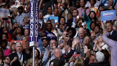U.S. Sen. Bernie Sanders waves to the crowd after the Vermont delegation cast its roll-call votes Tuesday.