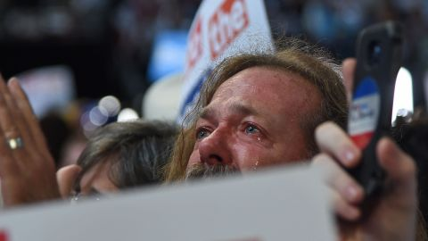 A delegate cries during the roll-call vote Tuesday.