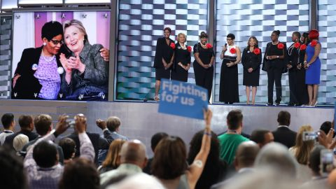 """""""Mothers of the Movement"""" -- mothers whose unarmed children have been killed by law enforcement or due to gun violence --  take the stage Tuesday."""