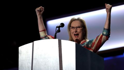 """Actress Meryl Streep addresses the crowd before Clinton's video message. Streep said Clinton will be the first female President of the United States, """"but she won't be the last."""""""