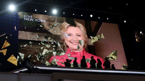 PHILADELPHIA, PA - JULY 26:  A screen displays Democratic presidential candidate Hillary Clinton delivering remarks during the evening session on the second day of the Democratic National Convention at the Wells Fargo Center, July 26, 2016 in Philadelphia, Pennsylvania. Democratic presidential candidate Hillary Clinton received the number of votes needed to secure the party's nomination. An estimated 50,000 people are expected in Philadelphia, including hundreds of protesters and members of the media. The four-day Democratic National Convention kicked off July 25.  (Photo by Drew Angerer/Getty Images)