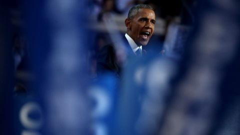 """""""This year, in this election, I'm asking you to join me -- to reject cynicism, reject fear, to summon what's best in us; to elect Hillary Clinton as the next President of the United States, and show the world we still believe in the promise of this great nation,"""" Obama said."""