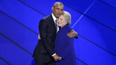 Obama and Clinton hug after Obama's speech.