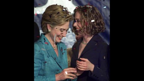 Chelsea and her mother celebrate after Hillary was elected to the U.S. Senate in November 2000.