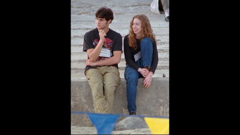 Chelsea sits with her future husband, Marc Mezvinsky, in December 1998. He is the son of two former members of Congress.