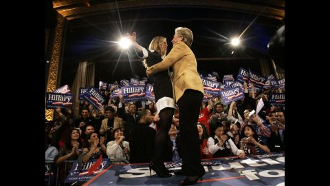 Chelsea hugs her mother, then a presidential candidate, at a rally in New York in February 2008.