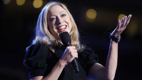 Chelsea does a mic check at the Democratic National Convention in August 2008.