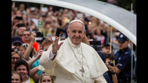 Francis greets the faithful Thursday as he arrives at a monastery in Czestochowa.