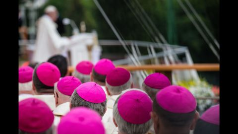 Bishops attend a Mass celebrated by Pope Francis on Thursday in Czestochowa, Poland.