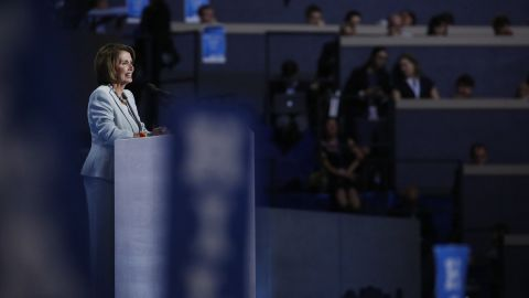 House Minority Leader Nancy Pelosi speaks to the crowd at the Wells Fargo Center.