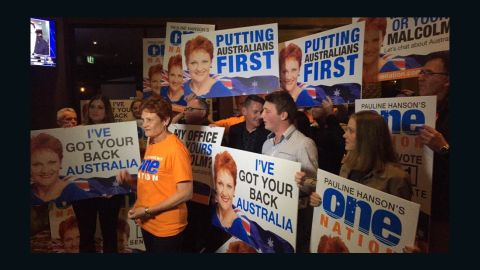 Pauline Hanson speaks to the media on July 2, the night she won a seat in the Australian Senate after 18 years out of Parliament.