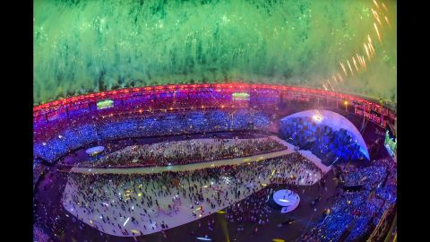 """Fireworks explode over the Maracana Stadium in Rio de Janiero at the end of the <a href=""""http://www.cnn.com/2016/08/05/sport/opening-ceremony-rio-2016-olympic-games/index.html"""">Olympic Games' opening ceremony</a> on Friday, August 5."""