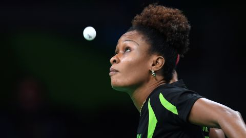 Nigeria's Olofunke Oshonaike keeps her eyes on the ball during the women's singles qualification round table tennis match.