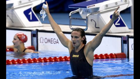 Hungary's Katinka Hosszu celebrates after breaking the world record by more than two seconds in the women's 400-meter individual medley final.