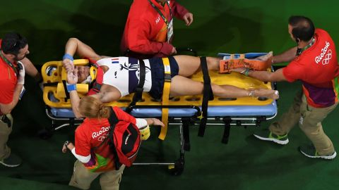 An overview shows France's Samir Ait Said being stretchered off after being injured while competing in the qualifying for the men's vault event of the Artistic Gymnastics at the Olympic Arena during the Rio 2016 Olympic Games in Rio de Janeiro on August 6, 2016. / AFP / Antonin THUILLIER        (Photo credit should read ANTONIN THUILLIER/AFP/Getty Images)
