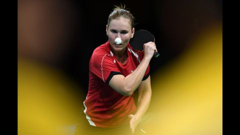 Belarus' Alexandra Privalova has a nose for the ball in her women's singles qualification-round table tennis match.