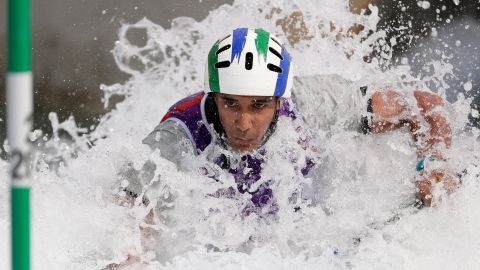 Soares Renan of Brazil competes in the heats of the men's canoe single event at the Whitewater Stadium.