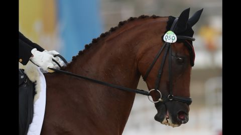 China's Tian Alex Hua, riding Don Geniro, competes in the Eventing Individual dressage event. He was 12th ahead of Monday's cross country and Tuesday's jumping.